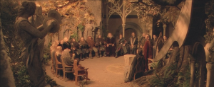 And there is a council wherein new information is revealed. Most of this information isn't relevant until later films.