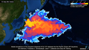 This is a chart showing radiation leaking into the Pacific Ocean from Japan. Not to be an alarmist but doesn't this impact exponentially more people than Michael Sam's orientation?