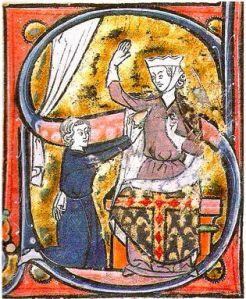 This is a 13th century painting of the Valentine's Day hipster: giving hearts before it was cool.