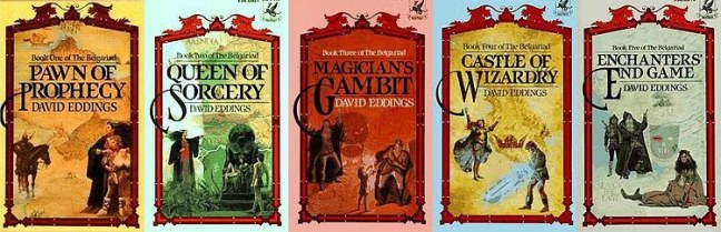 The five books in the main series. Apparently, Eddings was like Tolkien and wrote other material set within the universe that he had created.