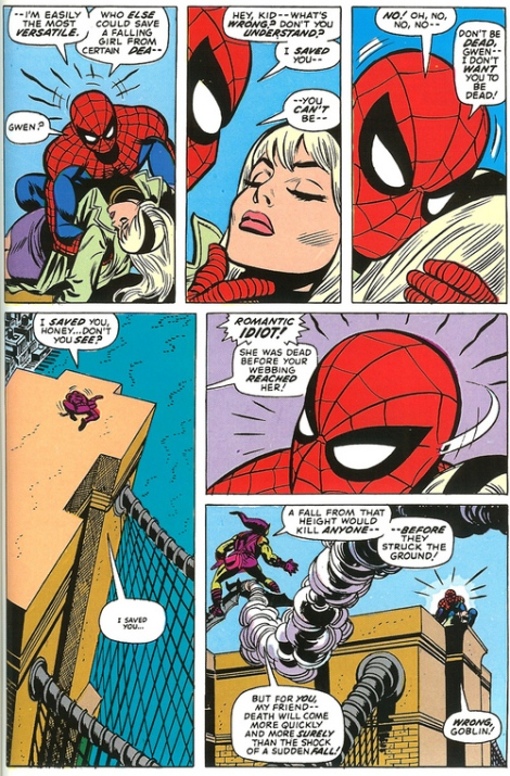 The death of Gwen Stacy is one of the most emotional moments in superhero comics. Note: the comic's dialogue is better than the film's.