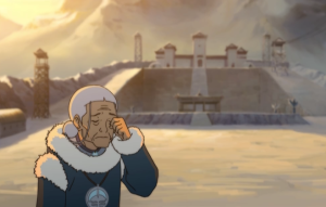 Katara is pictured as very frail in the new show. It is a bizarre development that does not seem to come from anywhere, outside the fact that she lost her husband.