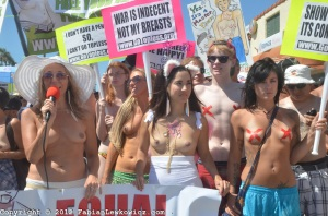 Go Topless is a movement to empower women to be able to go topless without fear of criminal reprocussions. The movement has gone to several major cities, including Montreal.
