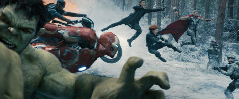 Look at Hawkeye jumping. It's kind of cool but at the same time really unnatural looking and kinda awkard when you think about it... that's Age of Ultron in an image.